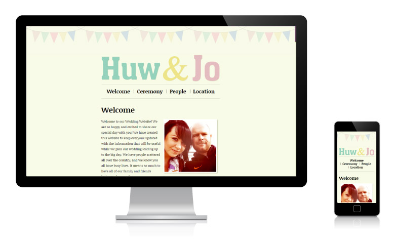 Huw and Jo website on desktop and mobile phone
